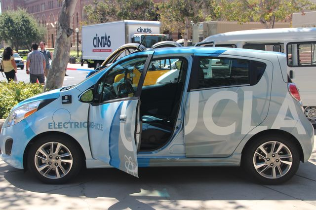 Alternative-fuel vehicles, like the electric car shown above, now make up approximately half of UCLA's fleet of vehicles.