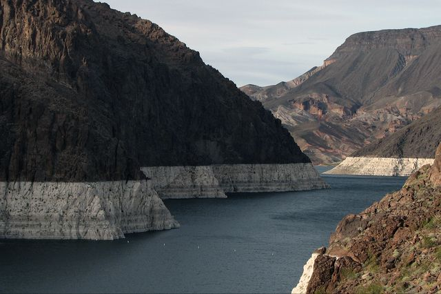 Lake Mead, the largest reservoir in the United States, now stands at 37 percent of its maximum capacity. Federal authorities have projected that by January 2017 the surface elevation of Lake Mead will have fallen to below 1,075 feet above sea level, invoking a water shortage declaration.