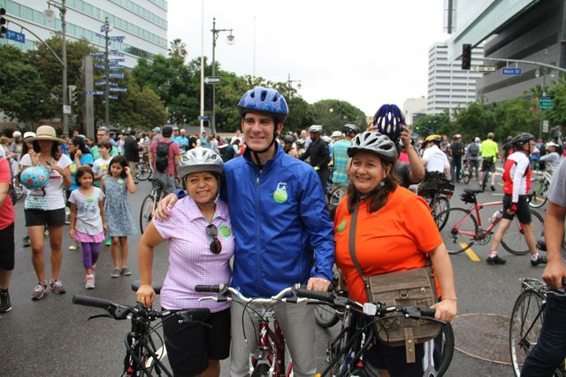 Los Angeles mayor Eric Garcetti takes part in CicLAvia Oct. 18, 2015.