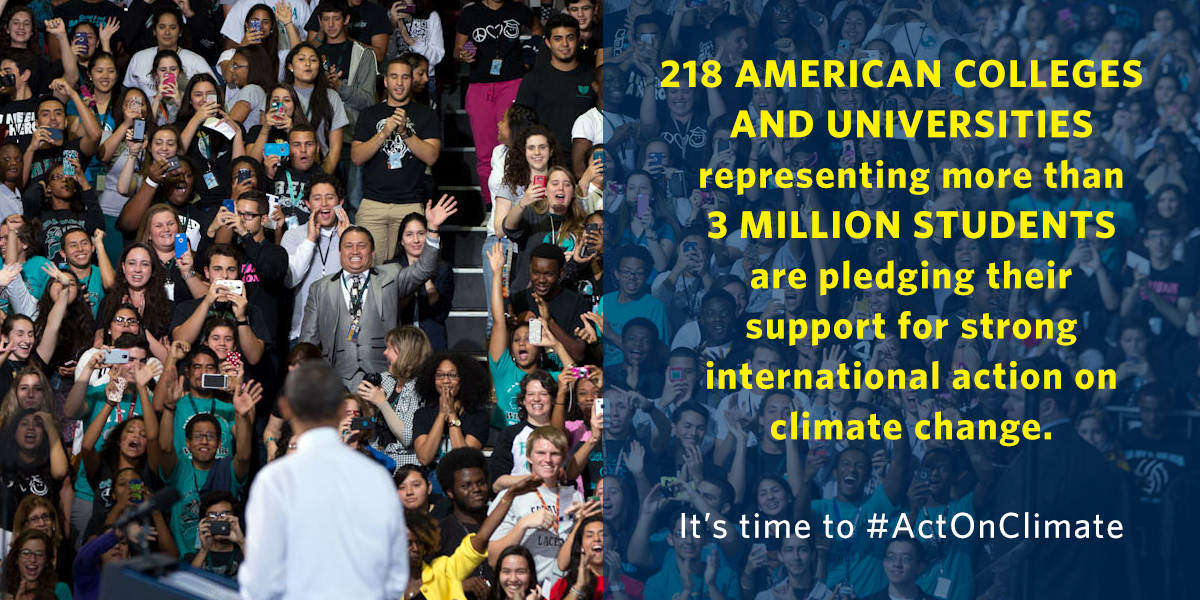 UCLA and the UC system joined the White House and universities around the country today in pledging to take their own decisive action on climate change.