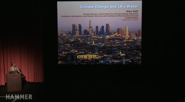 """Alex Hall presenting on the role of climate change in the future of water in Los Angeles during """"Next Wave: Thriving in a Hotter Los Angeles"""" at the Hammer Museum."""