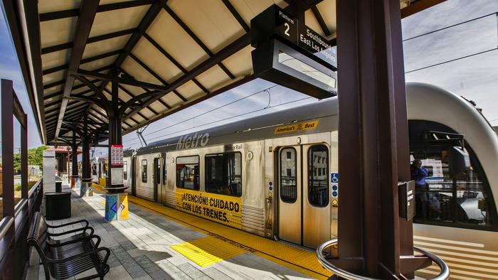 The Metro Gold Line train makes test runs, on new rail tracks on foothill extension that extends the existing Gold Line east into the San Gabriel Valley from Pasadena, as shown on March 2.