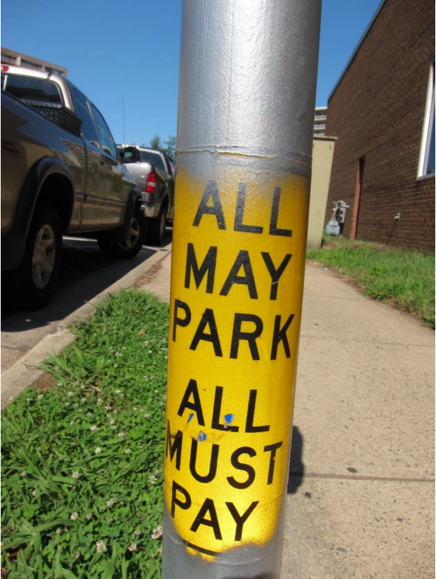 A sign on a parking meter in Arlington.