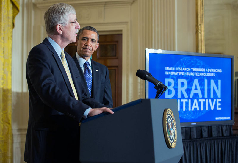 President Barack Obama is introduced by Dr. Francis Collins, Director, National Institutes of Health, at the BRAIN Initiative event in the East Room of the White House, April 2, 2013.
