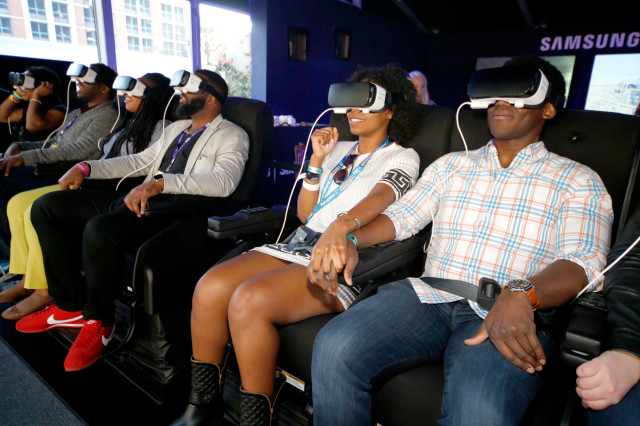 Festival goers experience Samsung Gear VR at The Samsung Studio at SXSW 2016 on March 12, 2016 in Austin, Texas.