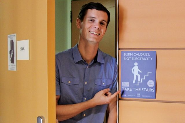 UCLA doctoral student Tyler Watson helped launch the Stair Well project, encouraging people on campus to take the stairs instead of the elevator to get some exercise.