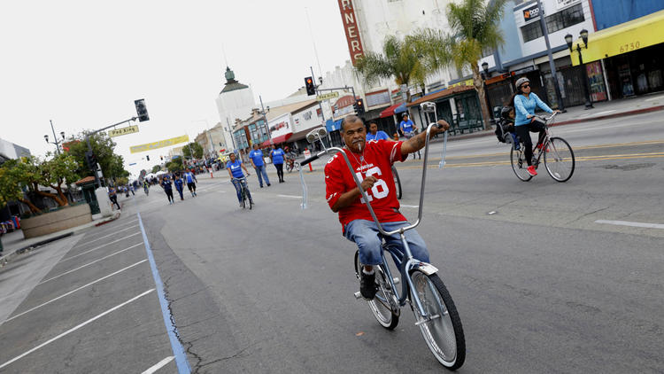 CicLAvia riders along Pacific Boulevard in Huntington Park on Sunday.
