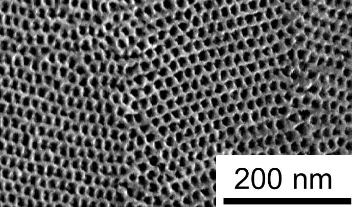 Scanning electron microscope image of the UCLA nanoporous titania/silica coating material that can improve the energy-efficiency of windows.