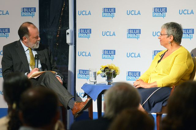 UCLA Blueprint editor-in-chief Jim Newton speaks to Mary Nichols, California Air Resources Board chairwoman.