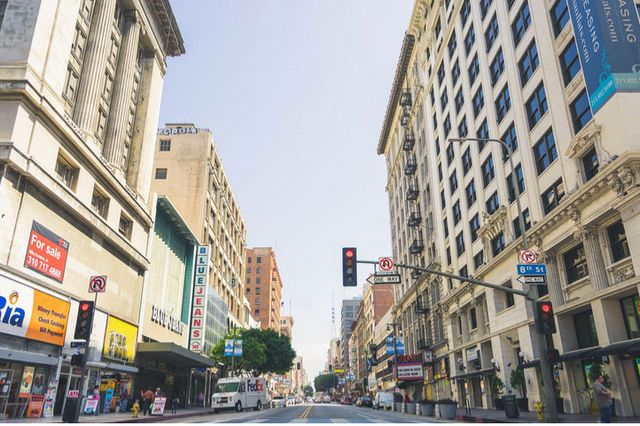"The view down Broadway from 8th Street in downtown L.A. The worst environments for air quality, the researchers found, were ""street canyons,"" densely packed with tall buildings and very little open space."