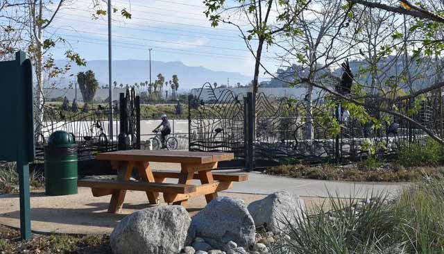At Marsh Park in the Elysian Valley, amenities in the park and along the bike path that parallels the Los Angeles River invite users to play or relax.