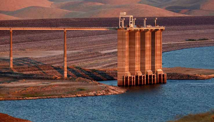 The San Luis Reservoir is only 10% full, its lowest level in 27 years, in Gustine, Calif., on Aug. 28