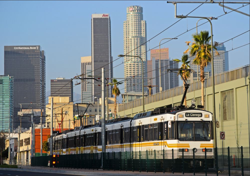 Expo Line and L.A. skyline.